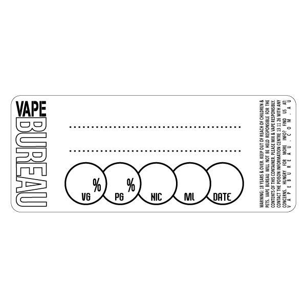 DIY Blank labels perfect for labeling your own e juice mixes. Record the vegetable glycerin and propylene glycol ratio, nicotine level, volume, date mixed and the name of your juice mix. Alway mix and vape responsibly. Vape Bureau take no responsibility for the contents of bottle for your do it yourself mixing.