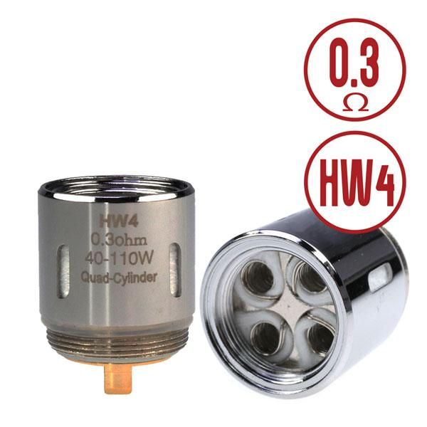 Eleaf HW4 Quad-Cylinder 0.3ohm Coil Head consists of Kanthal coils and will provide you with an ultra vaping experience of great flavor and great vapor production. Compatible Replacement Coil / Atomiser Head for ELLO, ELLO S, ELLO Mini, ELLO Mini XL, iKonn Total, Eleaf iKonn Total, iKonn 220, iStick Tria, Invoke, iStick PICO 25 Starter Kit