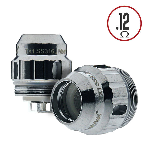 The Freemax TX1 SS316L 0.12 ohm Single Mesh Coil constructed with superior Stainless Steel and designed for vaping in temperature control mode. This coil is rated for use between 204 and 287 degrees celsius, with the recommended temperature at 260 degrees celsius