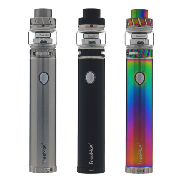 The FreeMax Twister 80W Starter Kit is a stick device includes the Twister 80W variable wattage built-in battery tube mod and the Fireluke 2 mesh coil sub ohm tank. The Twister 80W mod utilizes a 2300mAh built-in battery and twist-style variable wattage function, a simple twist of the base then you can easily switch the output wattage from 5W to 80W, the easiest way of its kind. Available in 3 great colours, Silver, Black & Rainbow.