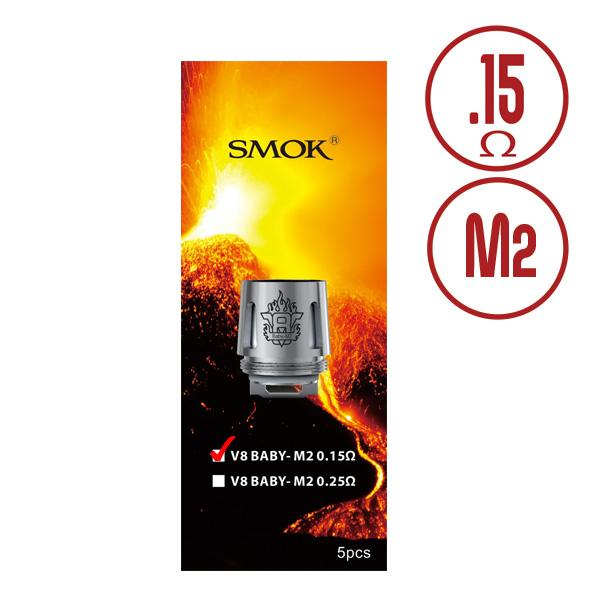 SMOK TFV8 M2 0.15ohm Baby Beast Replacement Coils - Stainless dual coils are compatible with 3.7V mechanical mods including SMOK TFV8 Baby tank, SMOK TFV8 Big Baby Sub-ohm Tank, SMOK Priv V8