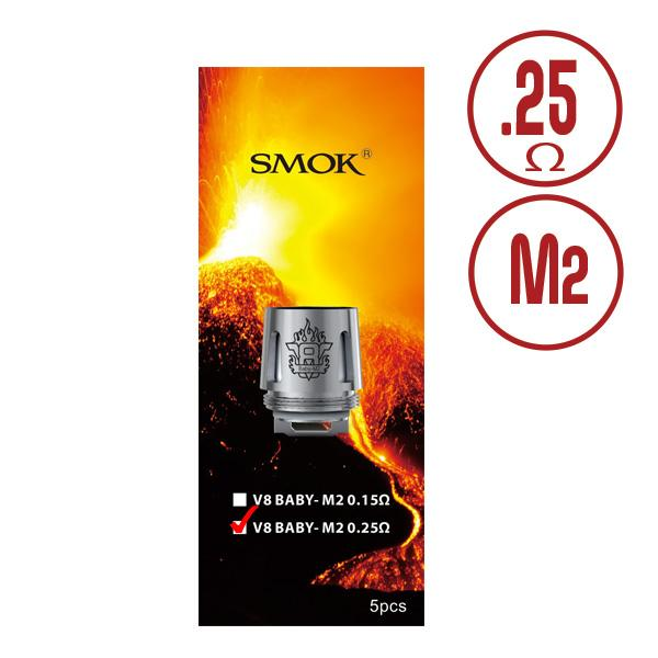 SMOK TFV8 M2 0.25ohm Baby Beast Replacement Coils - Stainless dual coils are compatible with 3.7V mechanical mods including SMOK TFV8 Baby tank, SMOK TFV8 Big Baby Sub-ohm Tank, SMOK Priv V8.