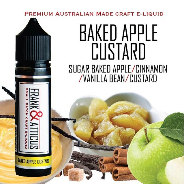 60ml Baked Apple Custard Eliquid that consists of Vanilla Custard, Sweet Caramelised Apples and a pinch of Cinnamon. Apple Custard Bake e-Juice is a dessert blend, perhaps the most popular custard in the entire Frank & Atticus range. The simple combination of sweet and ripe-tasting apple is fused with a creamy custard for a proven winner of an e-liquid.