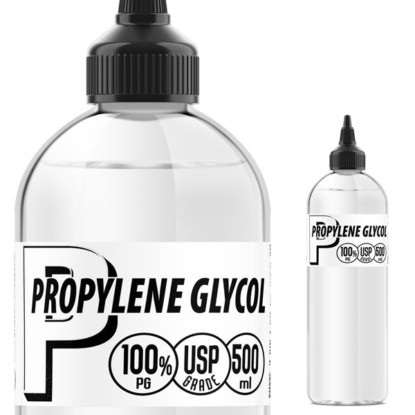 USP Grade Propylene Glycol (PG). This is the same PG used in cosmetics, personal care, and pharmaceutical products. It is 99.8% pure, thin, odorless and colorless. In e-liquids, Propylene Glycol (PG) is used to dilute liquid nicotine and enhance flavors. Notably, PG creates a throat hit similar to smoking tobacco cigarettes. While VG is coveted for its vapor cloud, PG is a favorite among those looking for a vaping experience reminiscent of smoking.