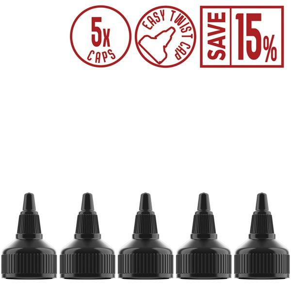 Vape-Bureau-DIY-vape-supplies-black-twist-caps-save-15%-5-pack
