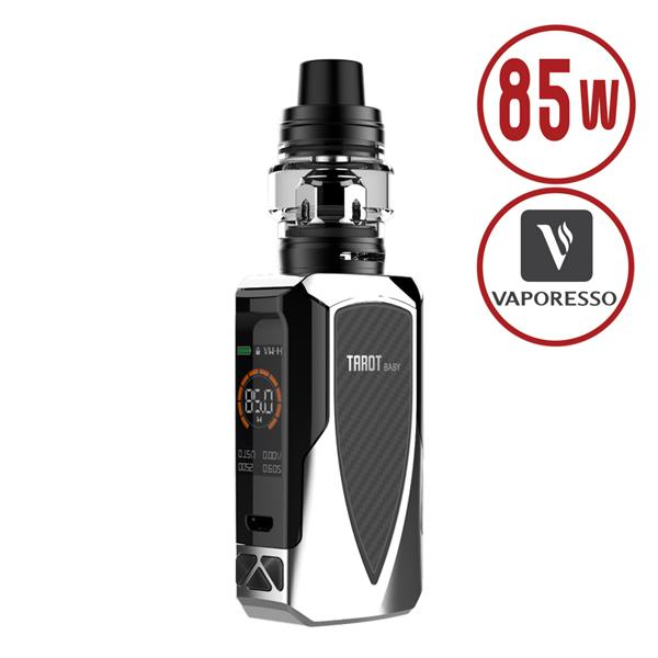 Silver Tarot Baby Starter Kit in Chrome with the Black NRG SE Tank features integrated 2500mAh rechargeable battery powering the 85Watt OMNI Board 4.0 Chipset, with one of the Fast Fire firing, CCW (Customized Curve of Wattage), temperature control & Protection suite.