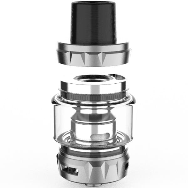 The Vaporesso SKRR-S Sub-Ohm Tank looks incredible pleasing from top to bottom. It delivers a unique appearance that's glittered in intelligent curves on its top and bottom base, while its midsection sports a convex glass tube. Toppling the tank is a resin wide bore drip tip, which perfectly matches the many available finish options including Black, Stainless, Gold and Rainbow.