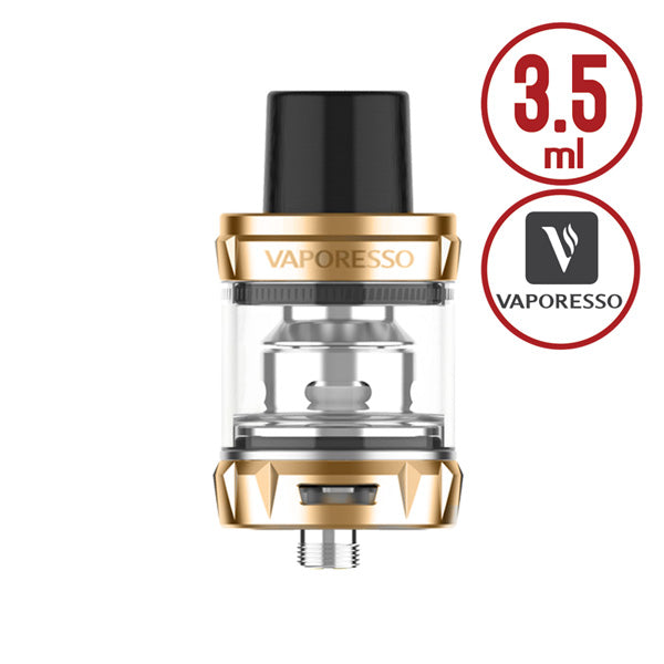 Vaporesso Gold SKRR-S Mini Tank is small and compact with 3.5ml e juice capability, with convenient top refill design and dual airflow adjustable slots on base, it comes with the innovative QF coil heads, the new QF coils bullet-shaped inner structure controls air flow to prevent spit back, it combines the use of airflow and an internal reservoir, it has minimized leaking, the eliminating cold air intake gives warmer, richer flavours.