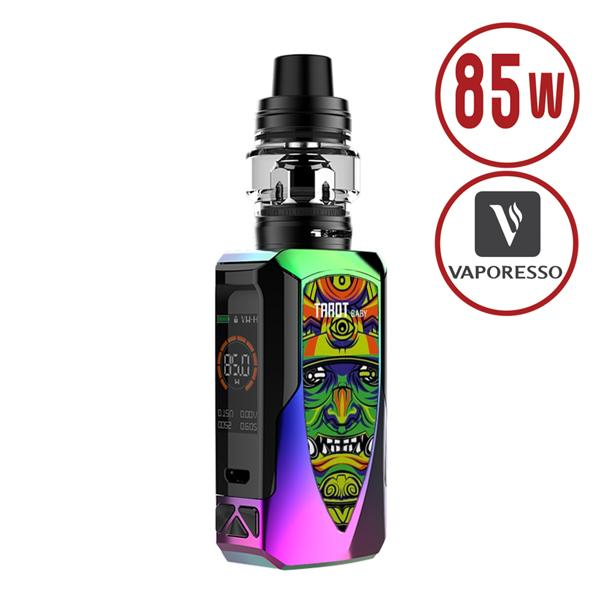 Vaporesso Tarot Baby TC Starter Rainbow Kit with NRG SE Tank features integrated 2500mAh rechargeable battery powering the 85Watt OMNI Board 4.0 Chipset, with one of the Fast Fire firing, CCW (Customized Curve of Wattage), temperature control & Protection suite.
