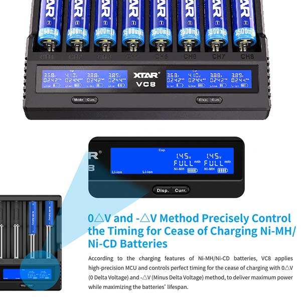 The Xtar VC8 battery charger has the function of reactivating deeply discharged and 0V cells. Many chargers on the market cannot charge such batteries. The Xtar VC8 Charging Station comes in handy , which in many cases allows you to 'save' such batteries. Just insert a deeply discharged battery into the VC8 charger, as with normal charging - the charger will detect a discharged cell and attempt to reactivate it.