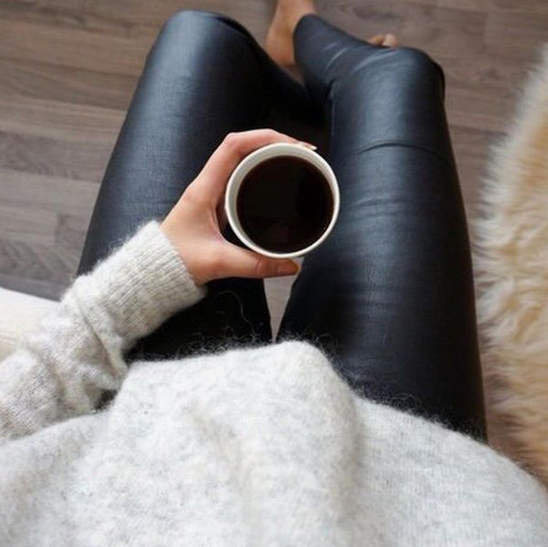 High Waisted Vegan Leather Pants