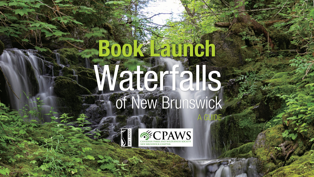 Event banner for the Waterfalls of New Brunswick Book Launch. The background is a photo of a waterfall cascading down a mossy cliff face in a lush, boreal forest. Text reads: Book Launch / Waterfalls of New Brunswick: A Guide. Below the text, there are logos for Goose Lane Editions and CPAWS NB.