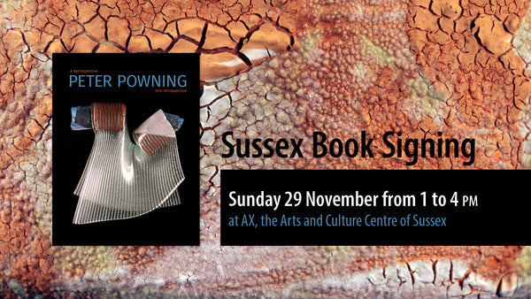 "A graphic advertising an event with a ridged- and bumpy-textured, orange background. The book cover for Peter Powning sits to the left of the text which reads: ""Sussex Book Signing. Sunday 29 November from 1pm to 4pm at AX, the Arts and Culture Centre of Sussex."