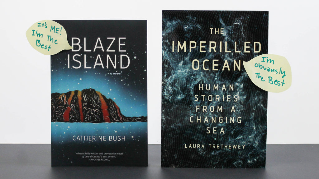 Photo of books standing upright with speech bubbles on the cover declaring they are the best book. From left to right: Blaze Island, The Imperilled Ocean