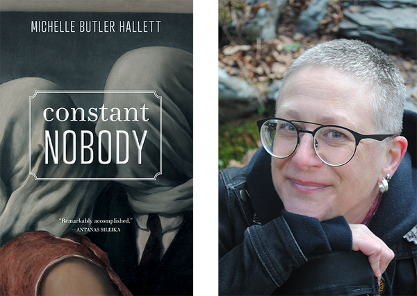 Left: Contant Nobody cover. Right: Michelle Butler Hallett author photo.