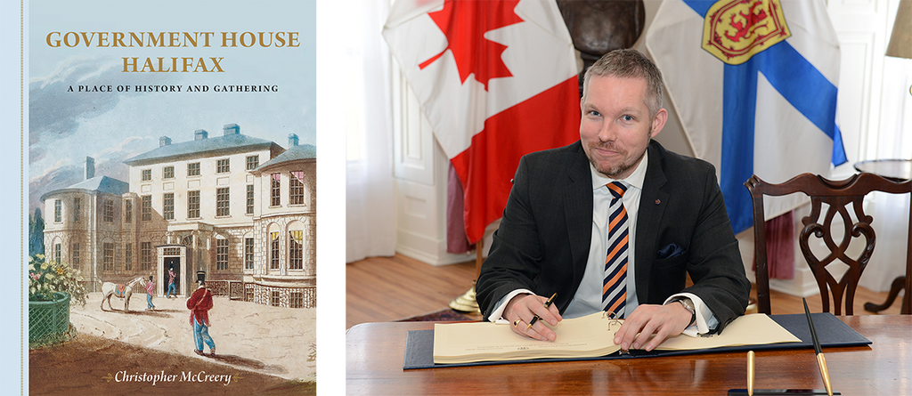 Left: Government House Halifax book cover. Right: author photo for Christopher McCreery