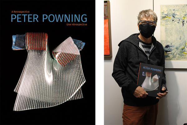 Left: Peter Powning book cover. Right: Artist Peter Powning stands holding his book