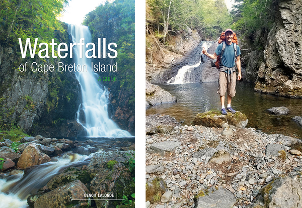 Left: Waterfalls of Cape Breton Island cover. Right: Benoit Lalonde author photo.