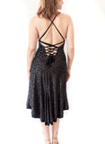 DRESS - Lace-up back dress in shiny material