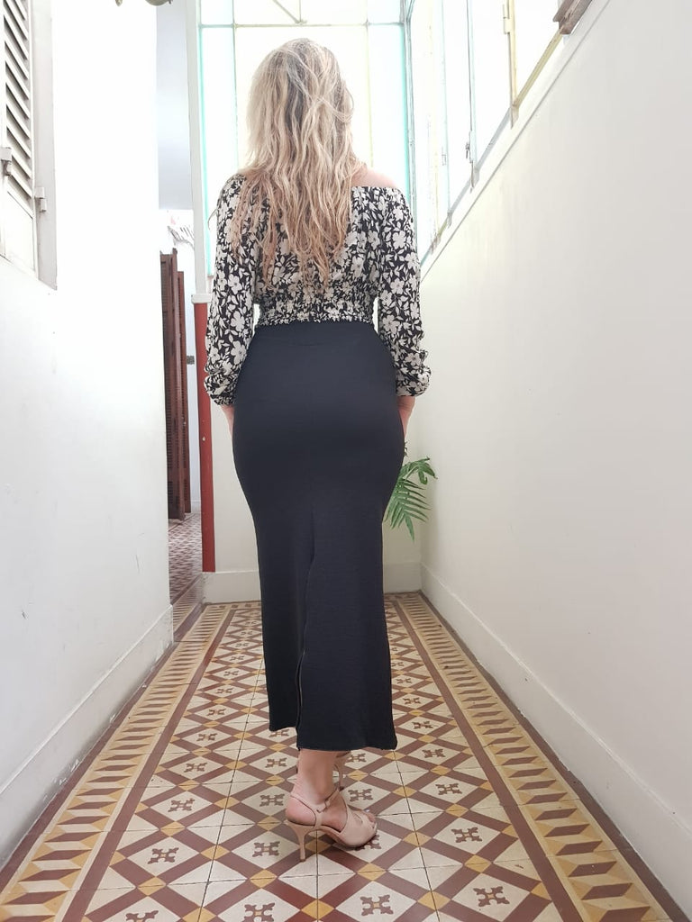SKIRT - Long Pencil skirt in pique, with deep slit