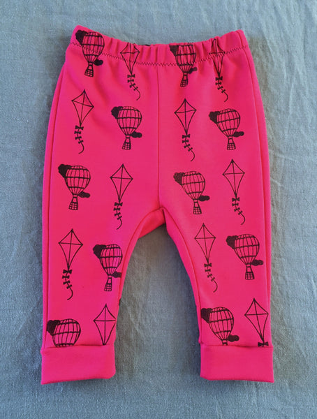 Up Up and Away organic cotton kids leggings handmade handprinted