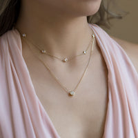 Bridesmaid wearing Gold Choker and Solitaire Layered Necklace