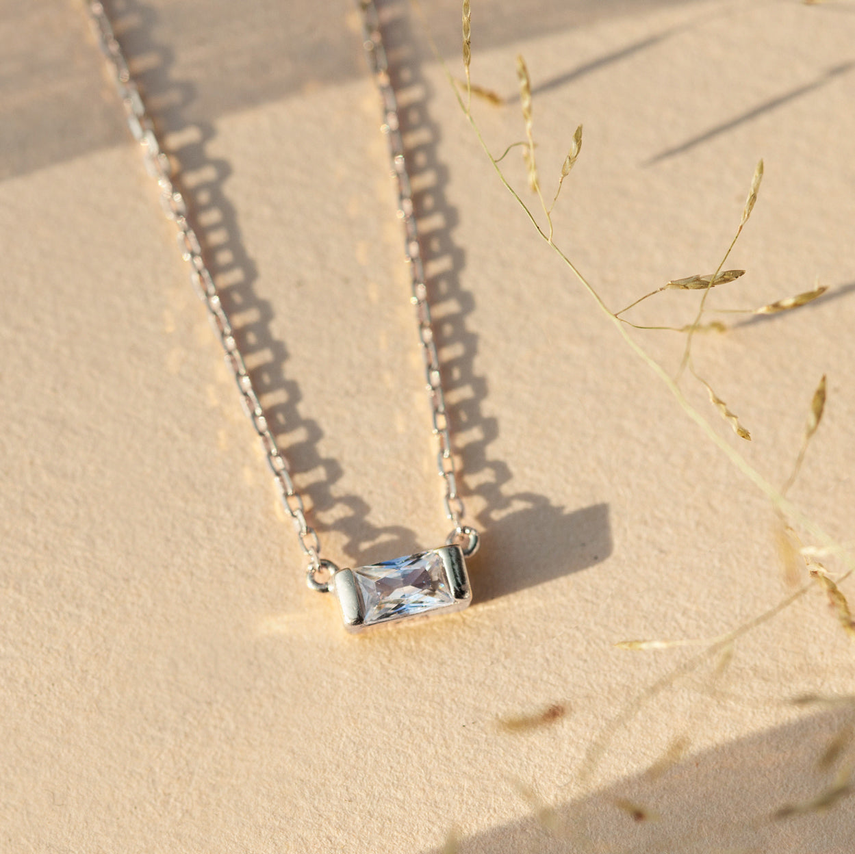 Baguette Pendant Necklace