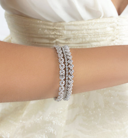 Luxe Nanette Silver Crystal Bangle Bracelet