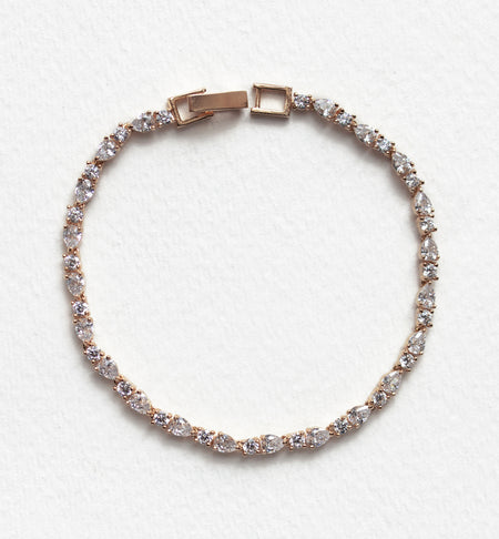 Delicate Crystal Tennis Bracelet in Rose Gold
