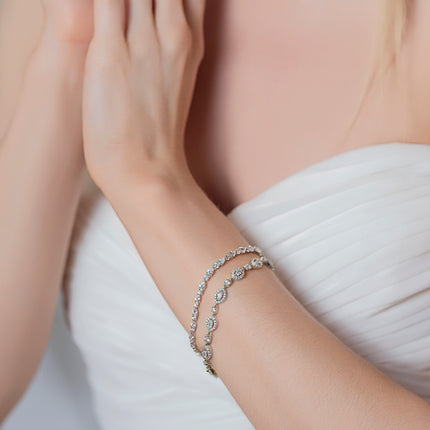 Mosaic Crystal & Daisy Marquise Tennis Bracelets