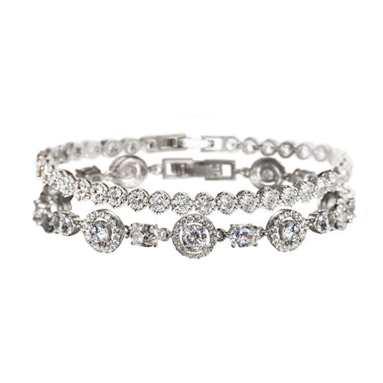 Sophia Halo CZ & Regal Tennis Bracelets
