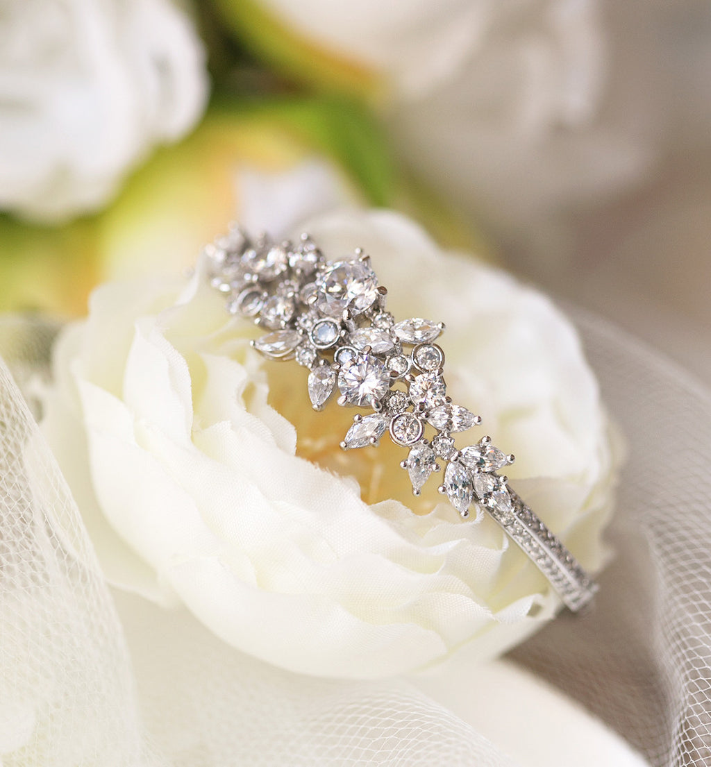 Fleur Marquise Cubic Zirconia Bangle - Amy O. Bridal