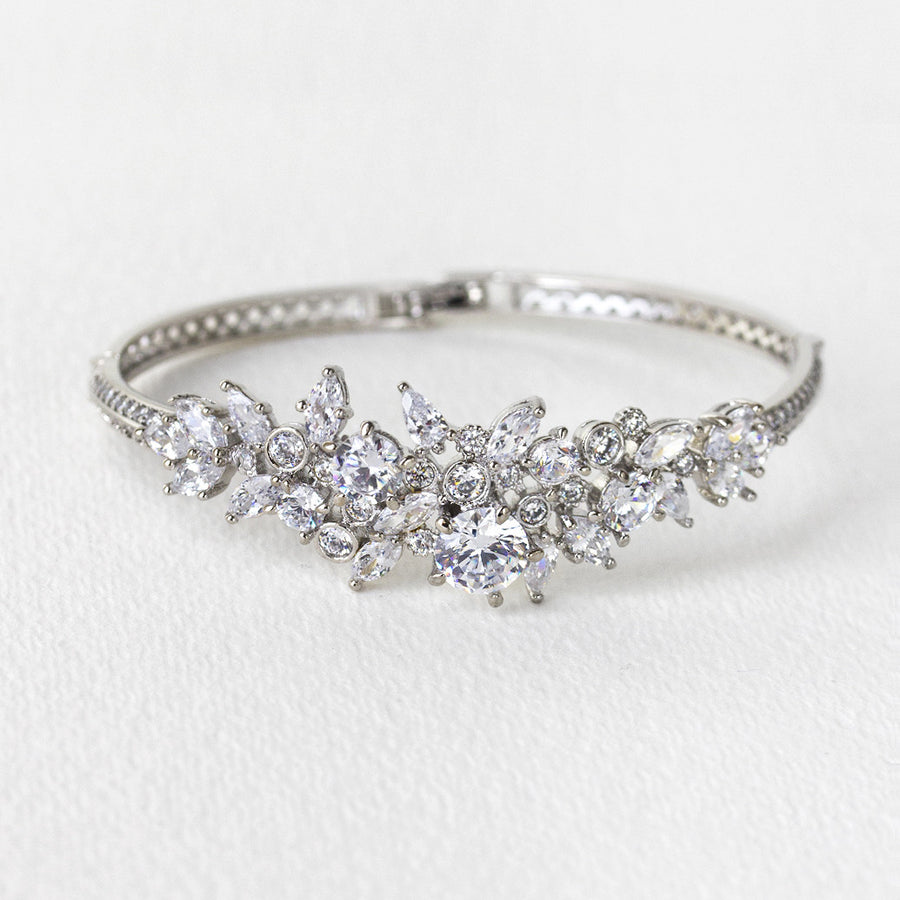 Fleur Crystal Bangle Bracelet - Amy O. Bridal
