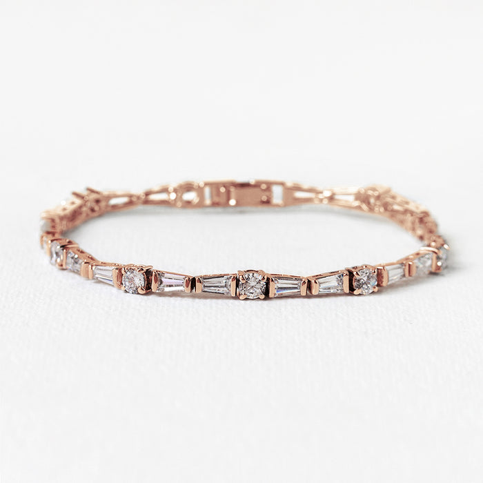 Deco Tapered Baguette Tennis Bracelet