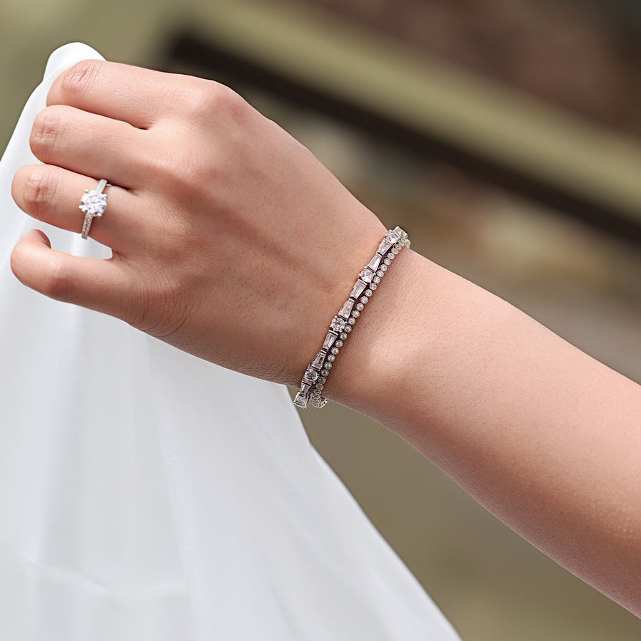 Deco Tapered Baguette Tennis Bracelet - Amy O. Bridal
