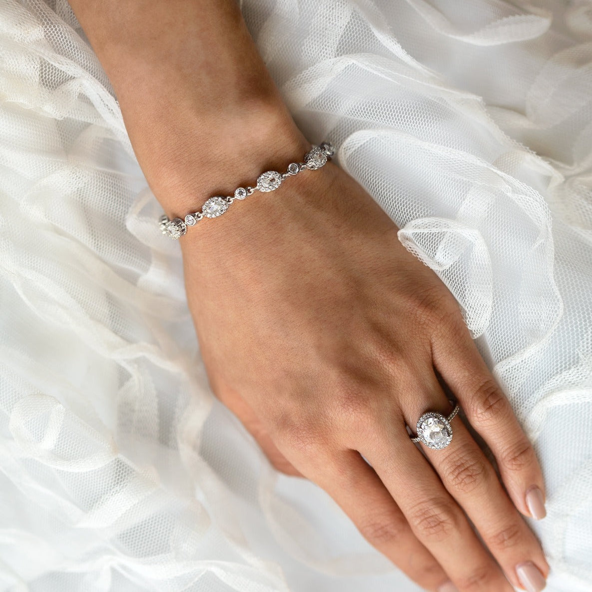 Ovali Crystal Tennis Bracelet - Amy O. Bridal