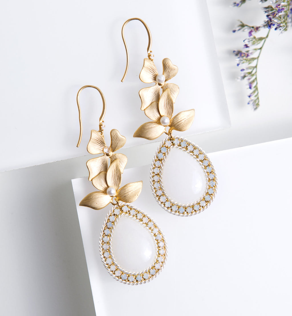 Floral Gold Pear Moonstone Earrings - Amy O. Bridal