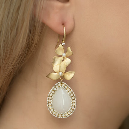 Jardin Floral Moonstone Earrings