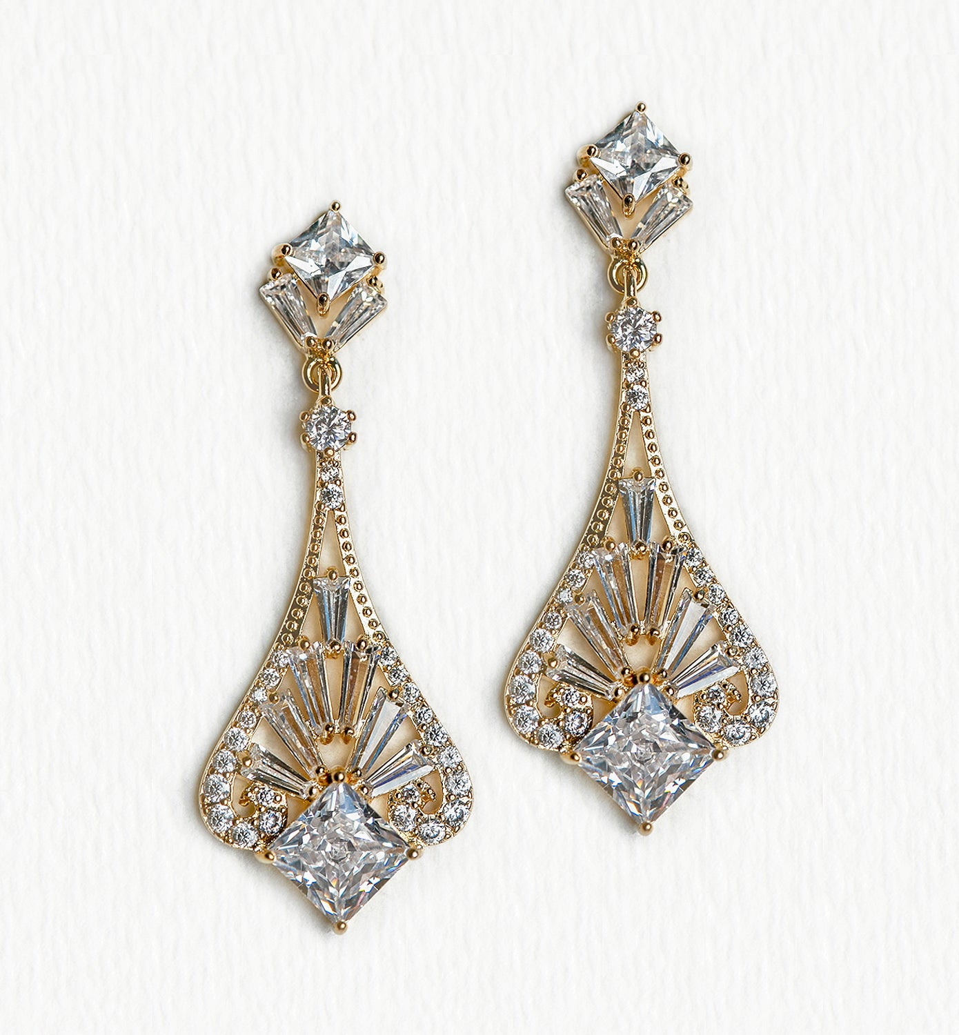 Deco Princess Cut Drop Earrings