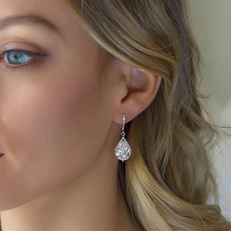 Margaux CZ Teardrop Earrings - Amy O. Bridal