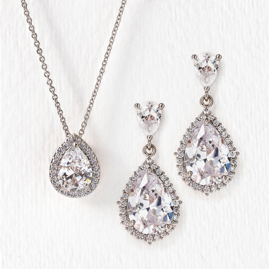 d37be432e Silver Bridal Jewelry Set, Necklace and Earring Set, Wedding – AMY O Bridal