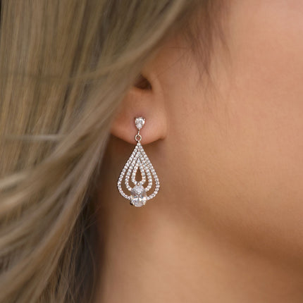 Deco Teardrop Chandelier Earrings