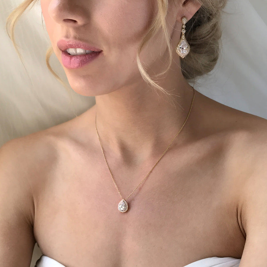 Sarina CZ Drop Earrings - Amy O. Bridal