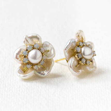 Flora Pearl & Opal Stud Earrings