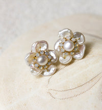 Flora Pearl & Opal Stud Earrings - Amy O. Bridal