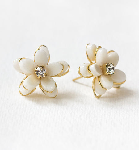 White Quartz Flower Stud Earrings