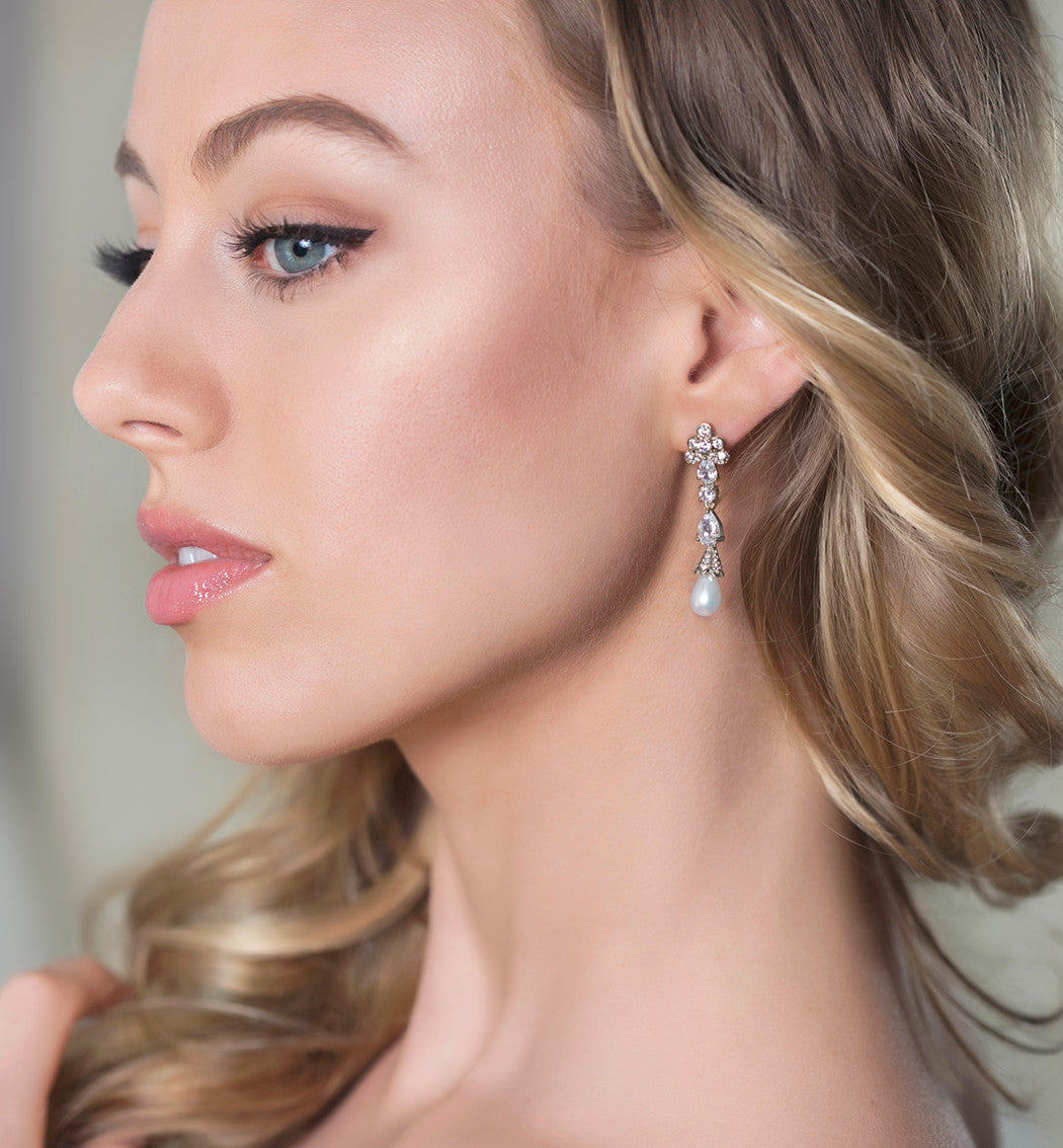 Jolie Vintage Pearl Drop Earrings - Amy O. Bridal