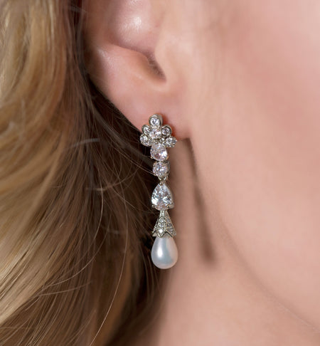 Vintage White Pearl Drop Earrings in Silver