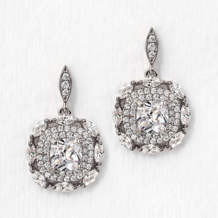 Deco Cushion Drop Earrings