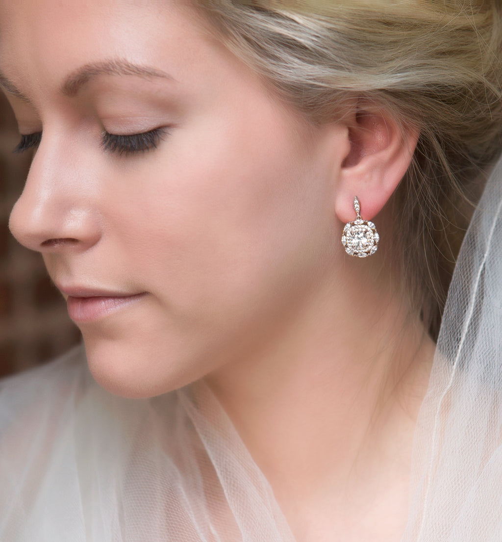 deco white gold cushion drop earrings - Amy O. Bridal
